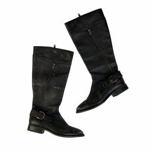 Free People Matisse Black Distressed Tall Boots